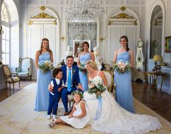 bride and groom in chateau la durantie