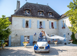 fun wedding pics of a couple at their wedding in south west france