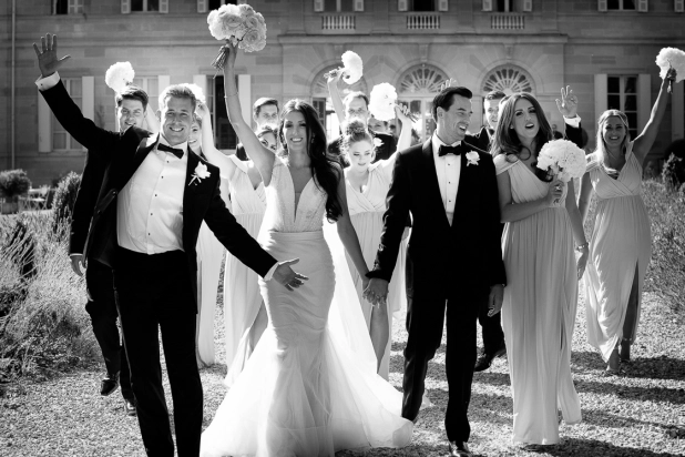 Wedding photograph in bw at chateau la durantie