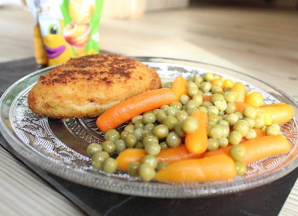 Menu Enfant : Cordon bleu/ petit pois , carottes + Dessert