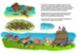 Dibujo - El Explorador y la Hechicera a la cabeza de una caravana de Torcubas (mezcla de Tortugas y Cubas)