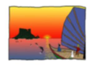 Dibujo - El Explorador y la Hechicera navegando hacia la Isla de las Torcubas acompañados por delfines