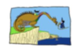 Dibujo - La Hechicera probando la piedra del Arco Iris en el Dragón de los Confines