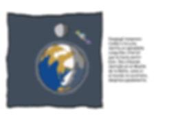 Dibujo - El Explorador despega de la Tierra rumbo a la Luna con su nave espacial
