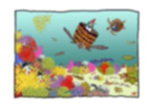 Dibujo - El Explorador y la Hechicera nadando con Torcubas (mezcla de Tortugas y Cubas) Carey por un arrecife de colores