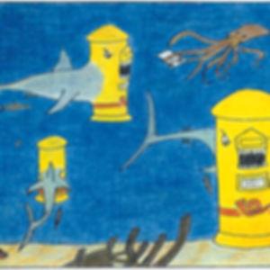 Tibuzón (mezcla de Tibuón y Buzón)  y un pulpo inentando entregar una carta en un buzón.
