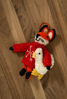 Fox with Chicken Ornament