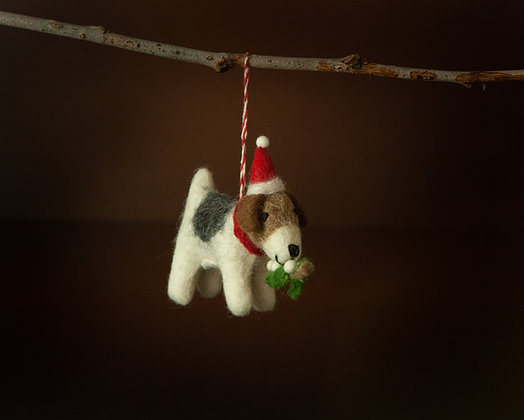 Puppy with Mistletoe Ornament