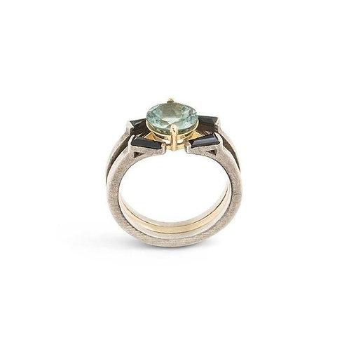 Paraiba Tourmaline Interlock Cocktail Ring 18K White & Rose Gold, Black Diamonds