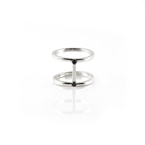 Core Bridge Ring Sterling Silver Black Diamonds