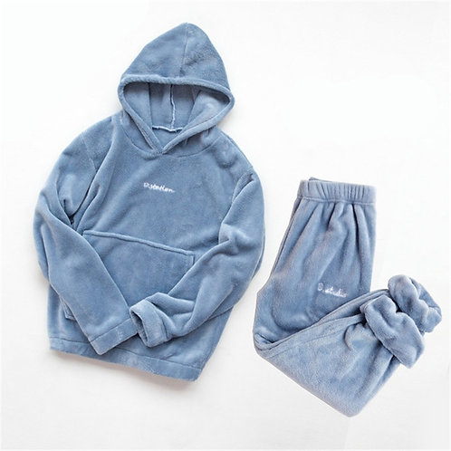 Coral Fleece Pajama Set Women Thick  Flannel Velvet  Two Pieces Sleepwear Suit