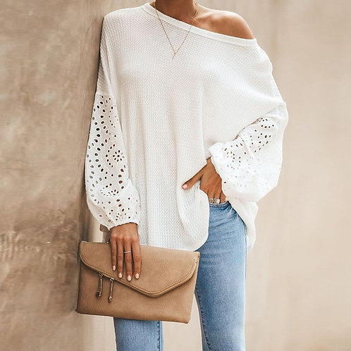 O-Neck Elegant Embroidery Floral Hollow Out Blouse Shirt Women