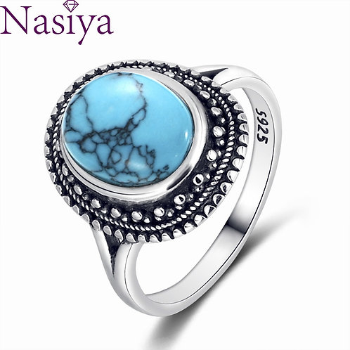 925 Silver Rings Natural Turquoise Gemstone Rings for Women