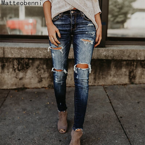 Boyfriend Hole Ripped Jeans Women  Cool Denim Vintage Skinny  High Waist