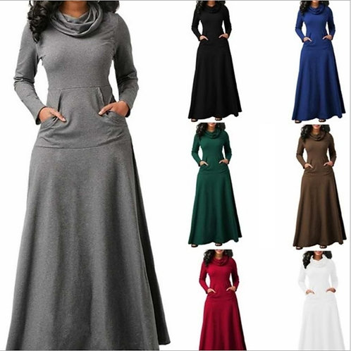 Women Warm Dress With Pocket Casual Solid Vintage Autumn Winter Maxi Dress