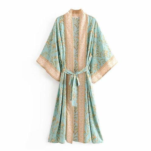 Vintage Chic Women Green Floral Print Bat Sleeve Rayo Bohemian Robe Kimono