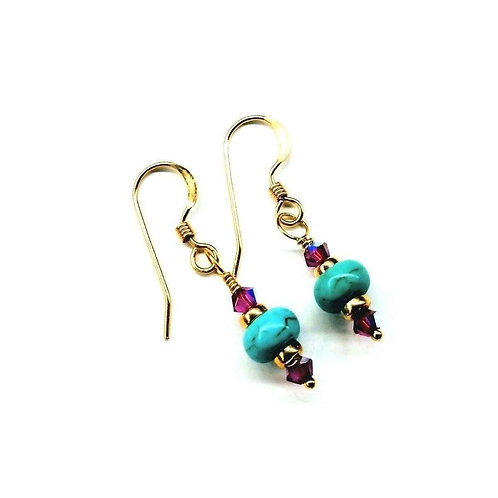 Hot Pink and Turquoise 14 K Gold Filled Earrings