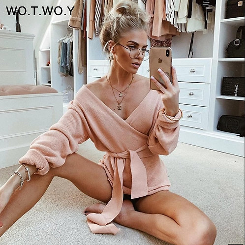 WOTWOY Lace Up v Neck Cross Winter Knitted Sweaters Women Off-Shoulder Pink
