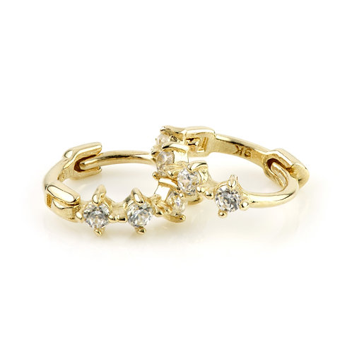 9ct Gold Tiny CZ Cartilage Huggie Earring