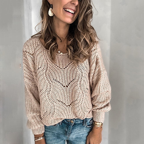 Sweater Ladies Crew Neck Cutout Knitted Jumper Pullover