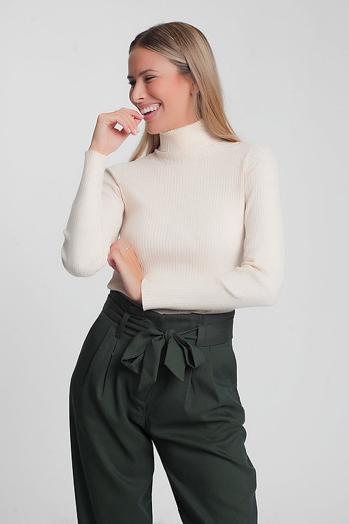 Soft Ribbed Sweater With Turtleneck in Beige