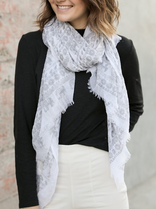 Gray & White Lightweight Elephant Boho Scarf