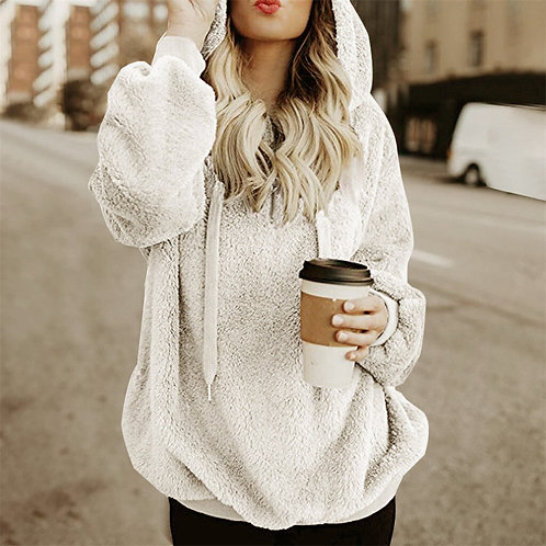 Solid Sweatshirt Women Oversize Hoodie Sweatshirt Coat Wool Zipper Pockets