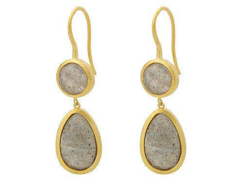 Double Drop Labradorite Earrings