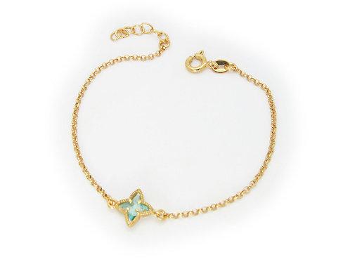 Ocean Aqua Flower Crystal Bracelet
