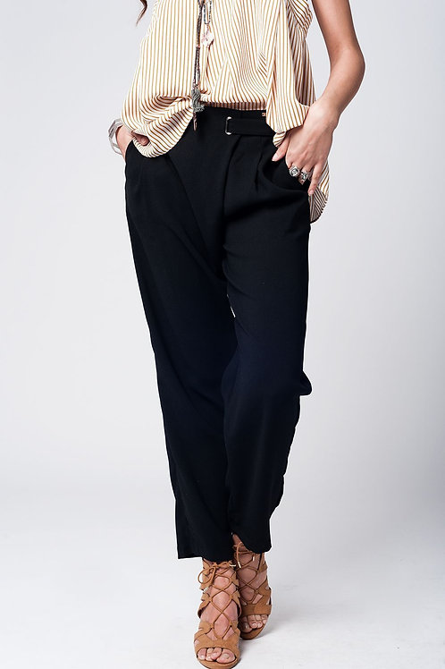 Black Wide Leg Trousers With Waist Detail