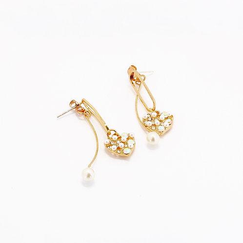 Pearls in Heart Drop Earrings