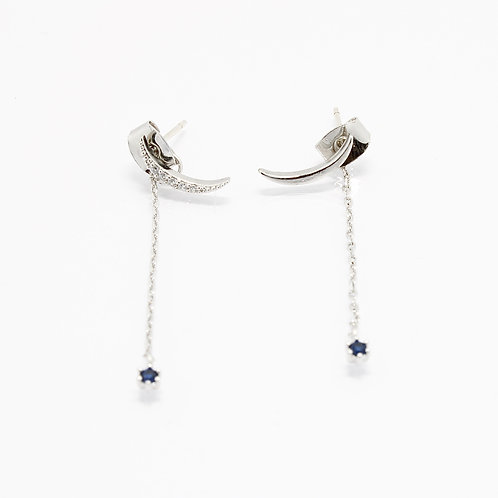 Silver Crescent Drop Earrings (925 silver post)