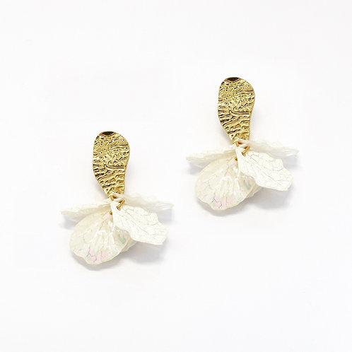 White Petal Flower Drop Earrings