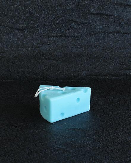 PIECE OF CHEESE CANDLE (BLUE)