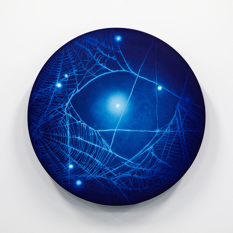 WATERSCAPE_ur sprung 1929, Diameter 50cm, Traditional pigment, water-print, water-drawing on canvas, 2019