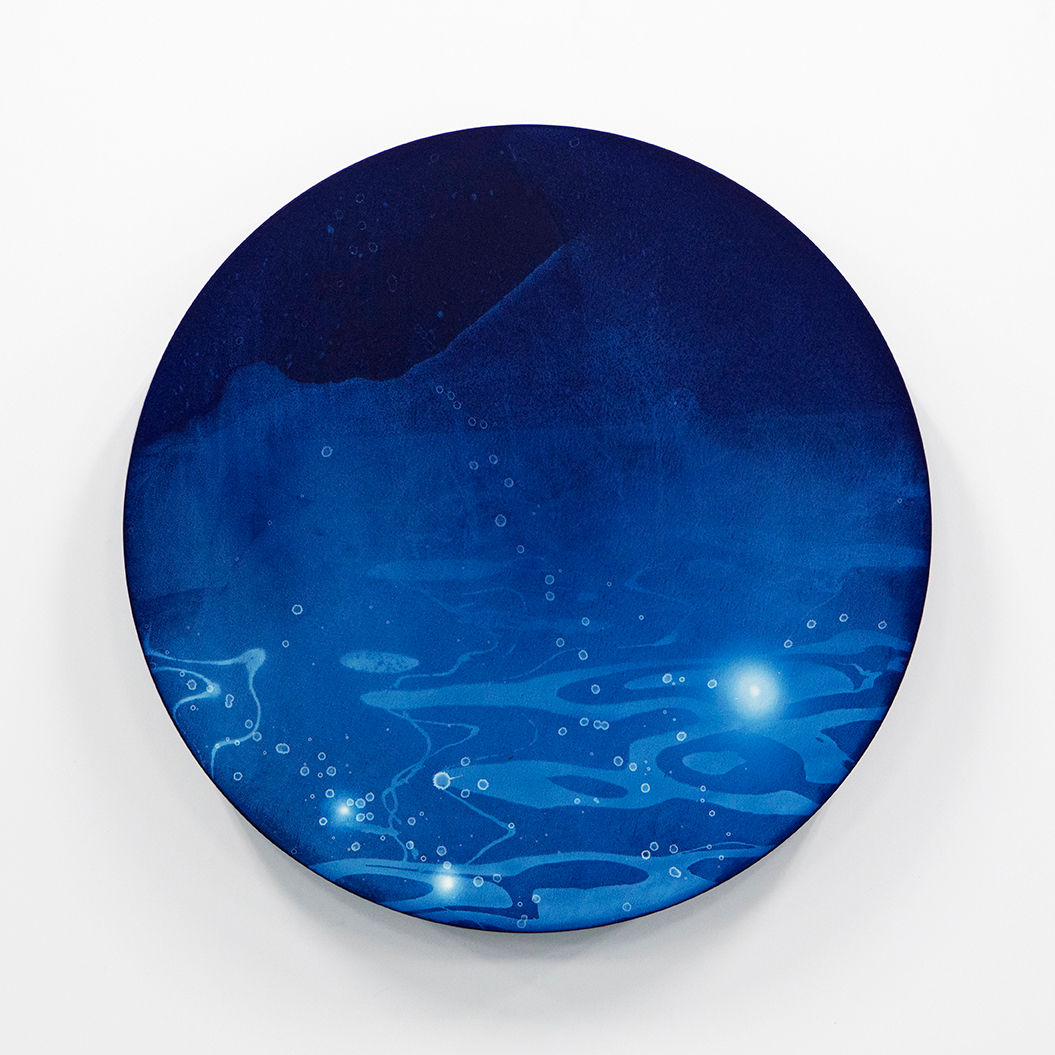 WATERSCAPE_ur sprung 1910, Diameter 50cm, Traditional pigment, water-print, water-drawing on canvas, 2019