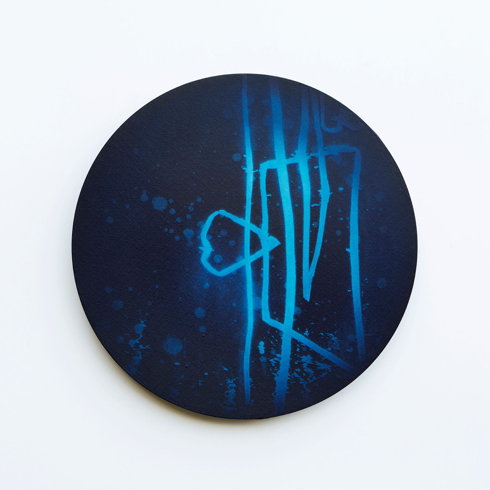 WATERSCAPE_내 안의 바깥 22, Diameter 40cm, Traditional pigment, water-print, water-drawing on canvas, 2018