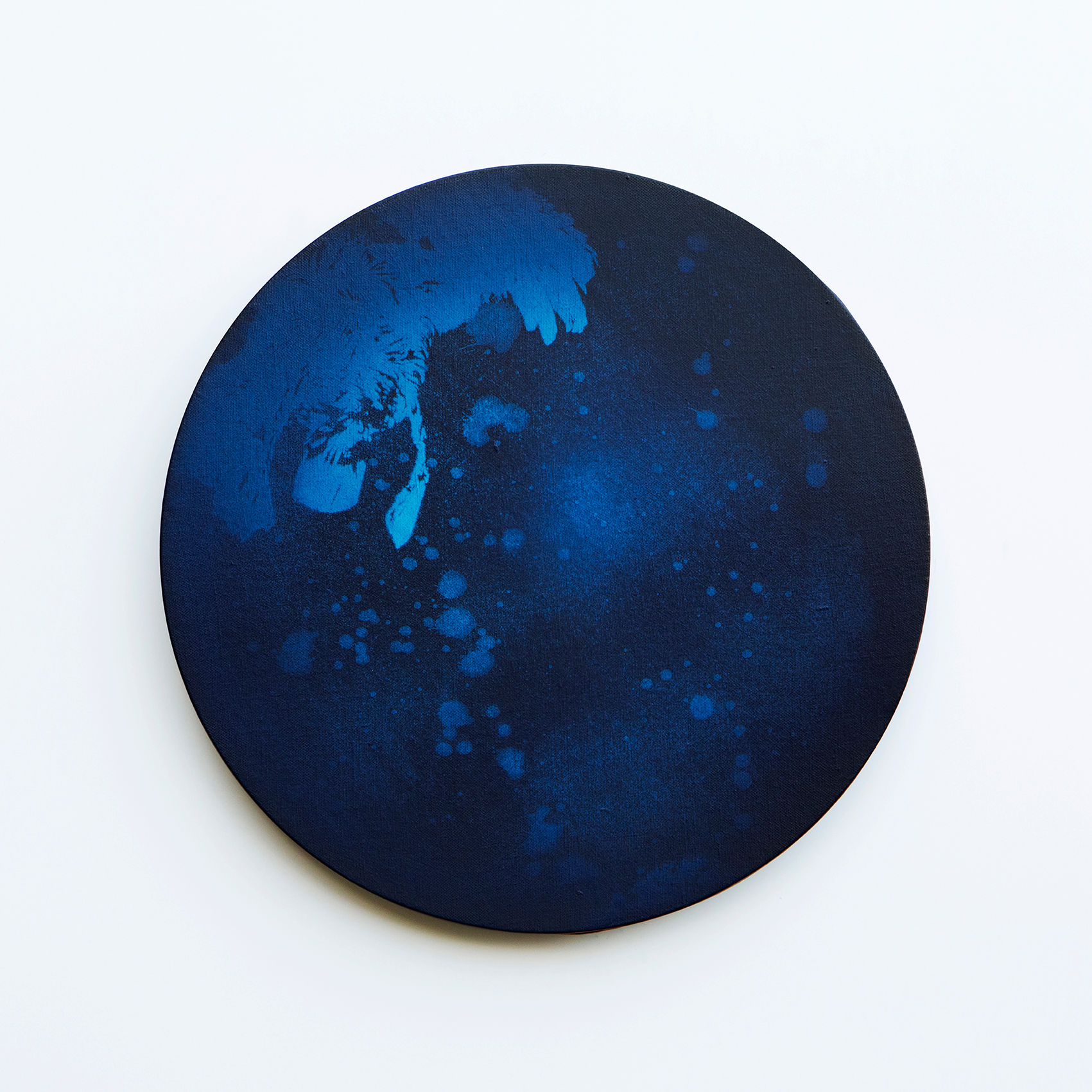 WATERSCAPE_내 안의 바깥 30, Diameter 40cm, Traditional pigment, water-print, water-drawing on canvas, 2018