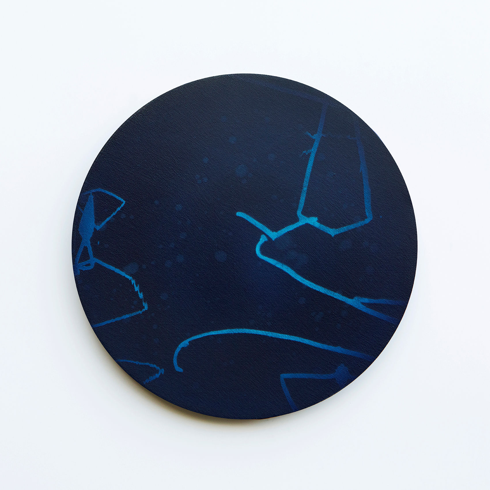 WATERSCAPE_내 안의 바깥 17, Diameter 40cm, Traditional pigment, water-print, water-drawing on canvas, 2018