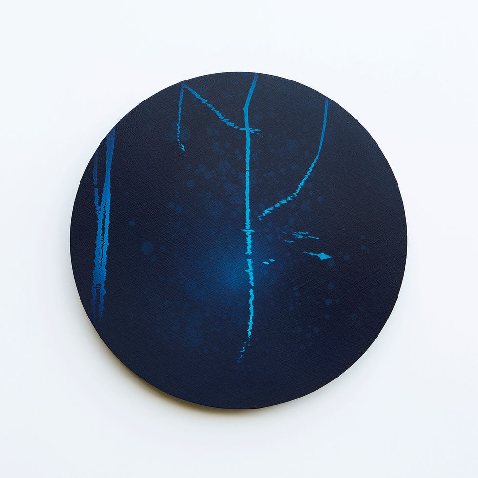 WATERSCAPE_내 안의 바깥 09, Diameter 40cm, Traditional pigment, water-print, water-drawing on canvas, 2018