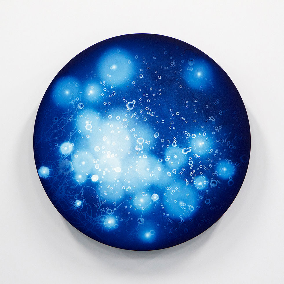 WATERSCAPE_ur sprung 1923, Diameter 50cm, Traditional pigment, water-print, water-drawing on canvas, 2019