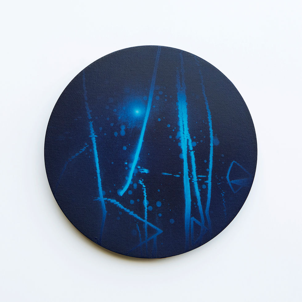 WATERSCAPE_내 안의 바깥 16, Diameter 40cm, Traditional pigment, water-print, water-drawing on canvas, 2018