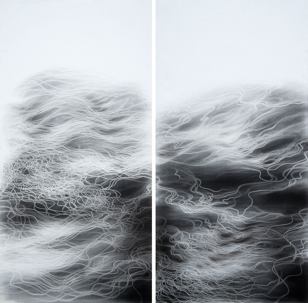 Waterscape 1325, 244x122cmx2pcs, Graphite, water-drawing on Mulberry paper, 2013