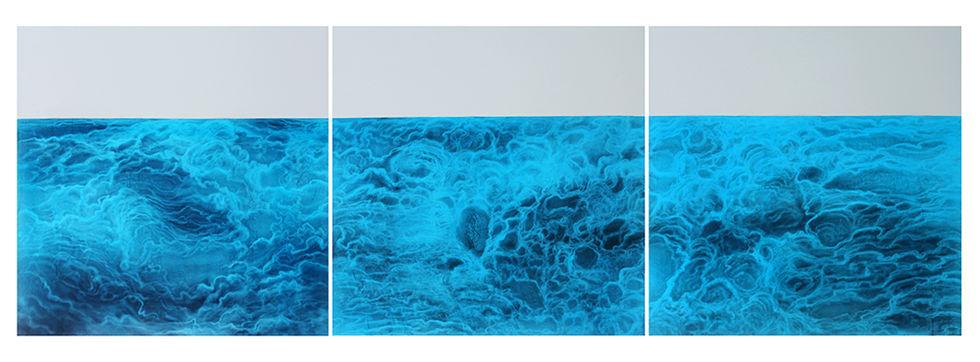 s_6.MæSS_mulgyeul 1206~1208, 130x130cmx3pcs, Graphite, acrylic, wind-drawing on Mulberry paper, 2012