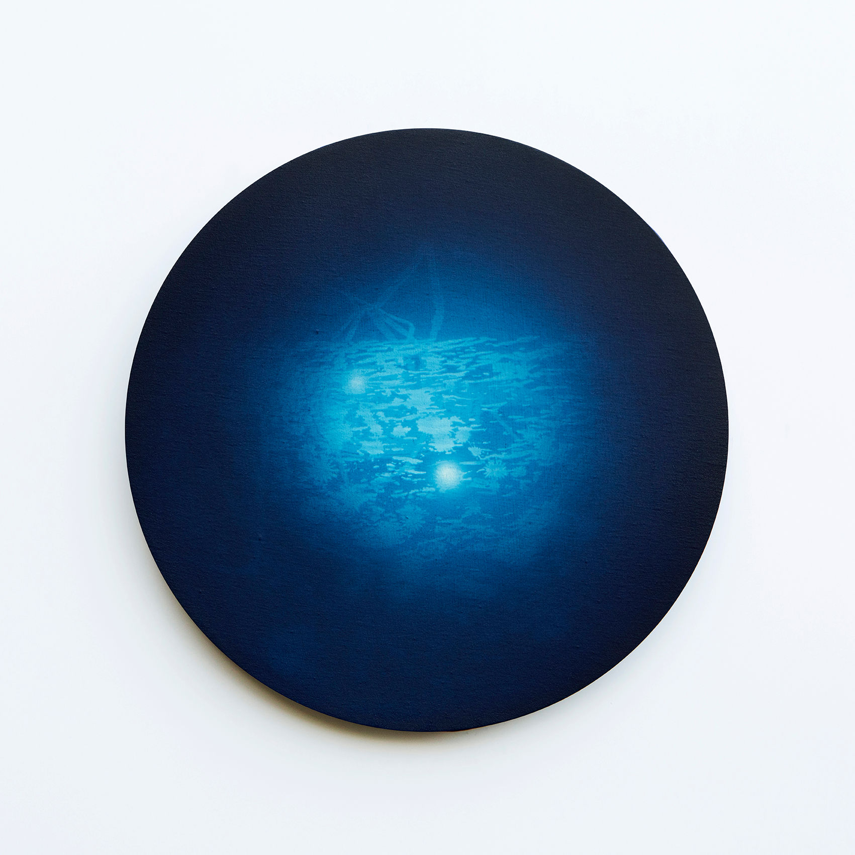 WATERSCAPE_내 안의 바깥 44, Diameter 40cm, Traditional pigment, water-print, water-drawing on canvas, 2018