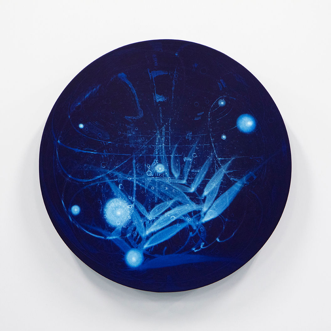 WATERSCAPE_ur sprung 1924, Diameter 50cm, Traditional pigment, water-print, water-drawing on canvas, 2019