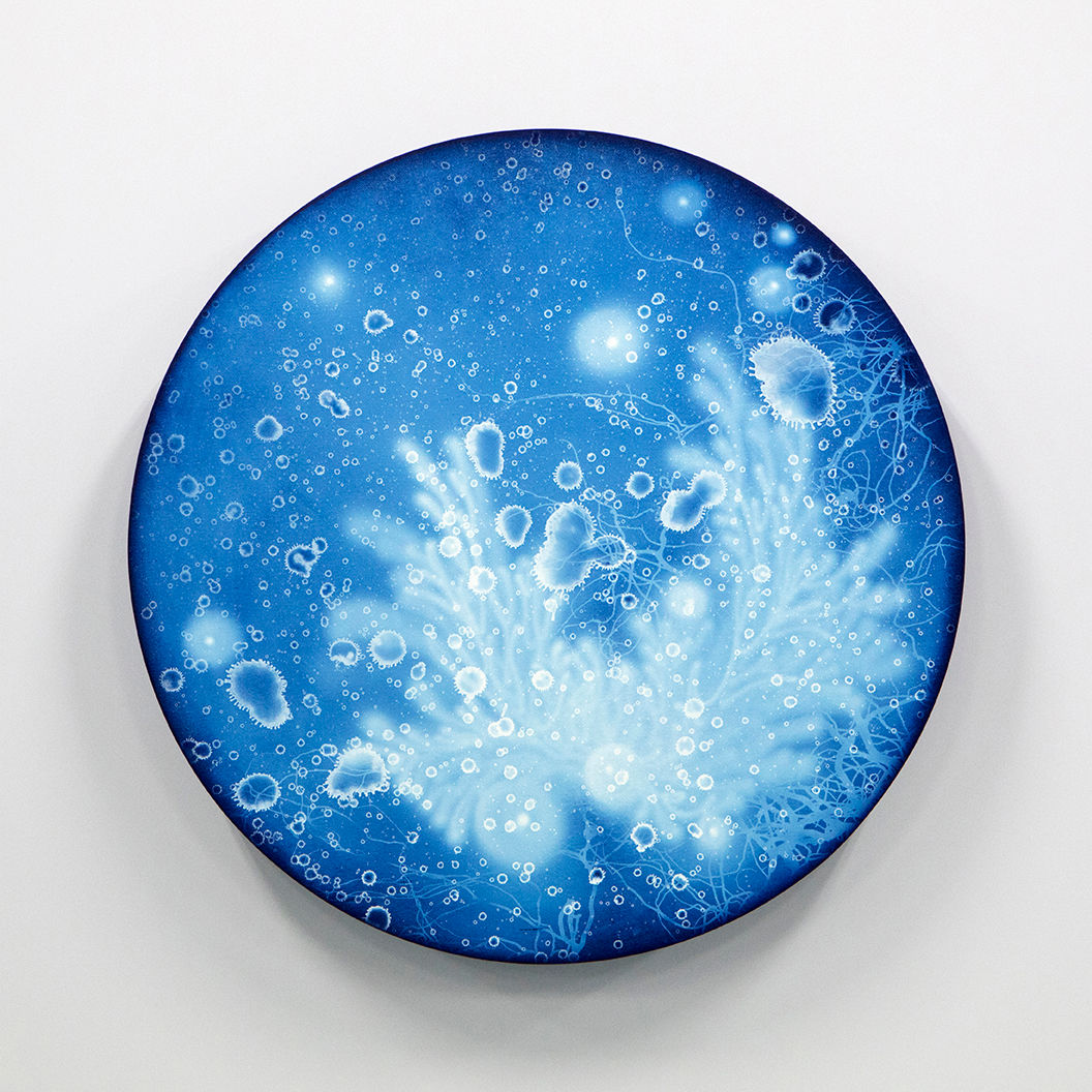 WATERSCAPE_ur sprung 1928, Diameter 50cm, Traditional pigment, water-print, water-drawing on canvas, 2019