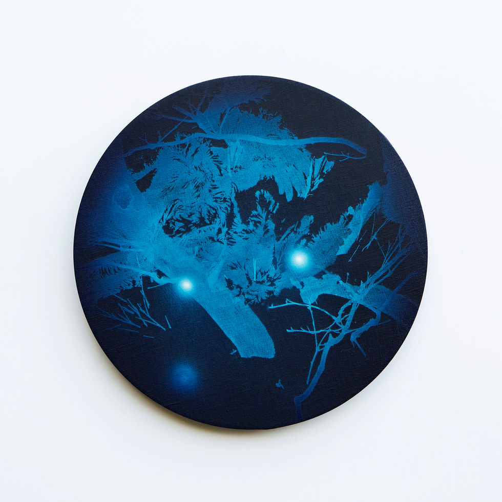 WATERSCAPE_내 안의 바깥 11, Diameter 40cm, Traditional pigment, water-print, water-drawing on canvas, 2018