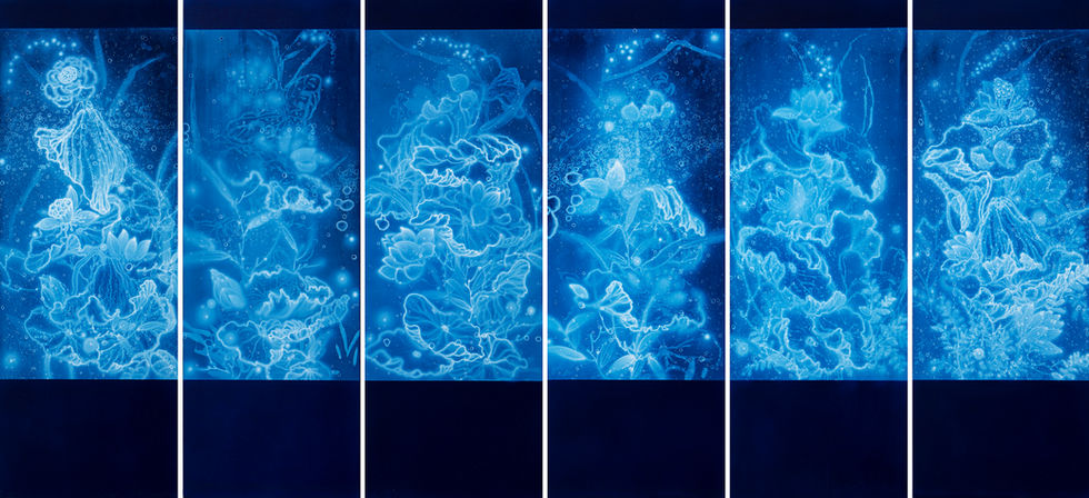 WATERSCAPE_연과연(7~12), 170x60cmx6pcs, Traditional pigment, water-print, water-drawing on canvas, 2019
