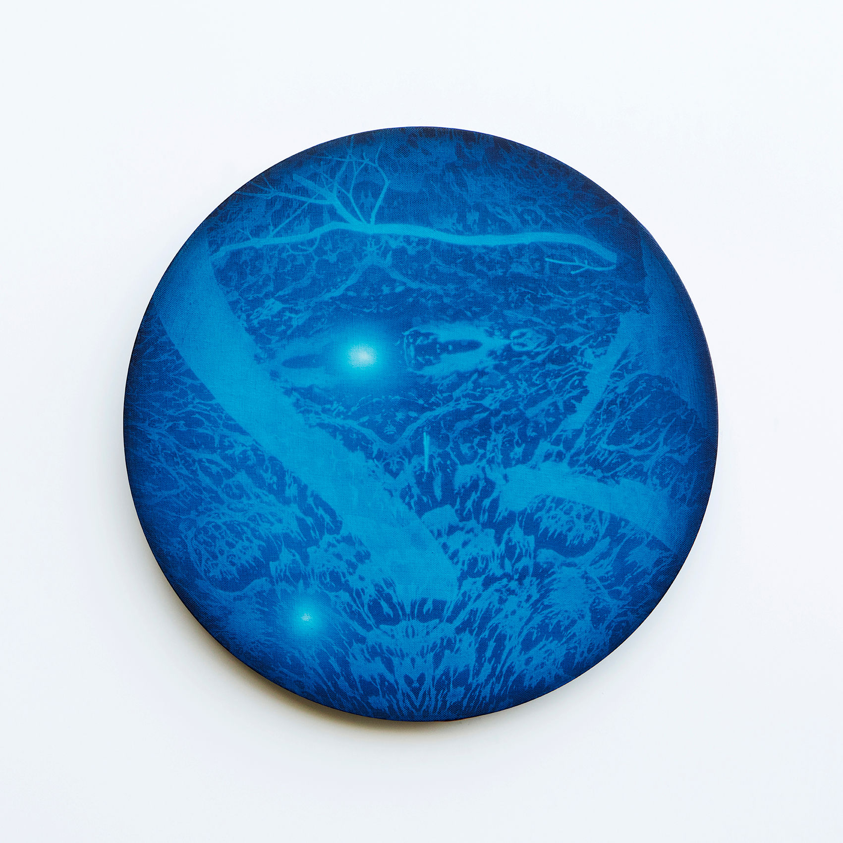 WATERSCAPE_내 안의 바깥 31, Diameter 40cm, Traditional pigment, water-print, water-drawing on canvas, 2018